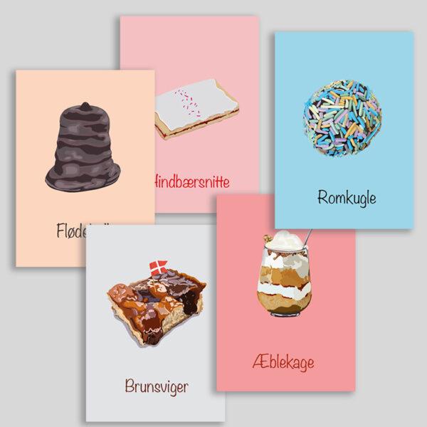 5 illustrationer af kager