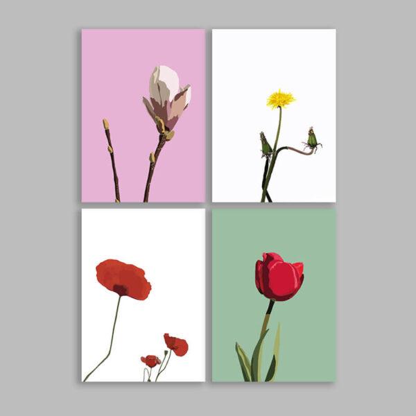 Blomster pakke med kunstkort tuæopantræ mælkebøtte valmue og tulipan